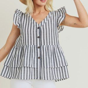 Striped Button Up Baby Doll cap ruffle sleeve Top
